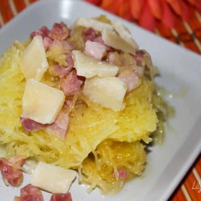 Zucca spaghetti con pancetta e grana